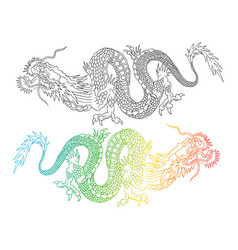 Colorful and black chinese dragons vector