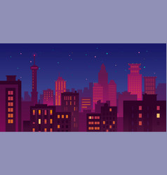 colorful urban night cityscape vector image