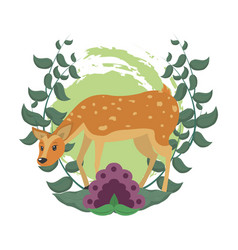 Cute deer cartoon in forest vector
