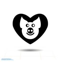 cute piggy in heart black icon love symbol vector image