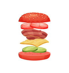 Delicious burger with flying ingredients red buns vector