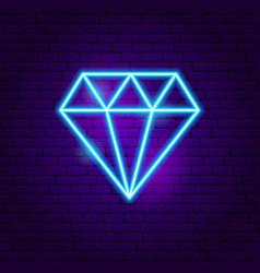 diamond neon sign vector image