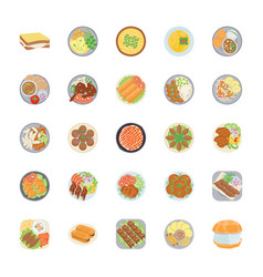 Dishes flat icons pack vector