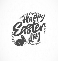 easter greeting card with leaves and rabbit vector image