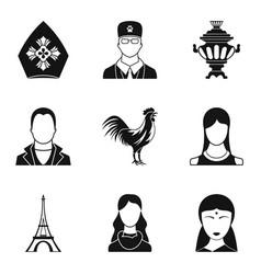 Ethnic origin icons set simple style vector