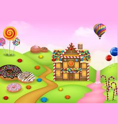 fantasy sweet candyland vector image