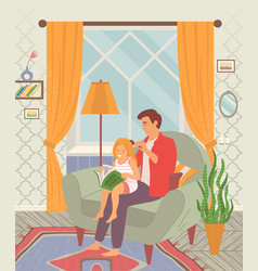 father brushing hair his daughter happy vector image