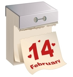 February 14 Valentines Day Tear-off calendar vector
