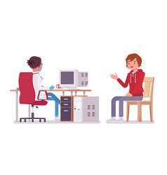 Female doctor therapist and patient vector