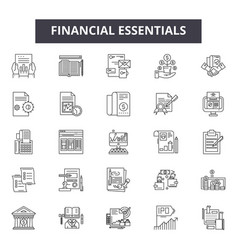 Financial essentials line icons signs set vector
