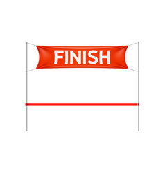 finish line with red banner and ribbon vector image