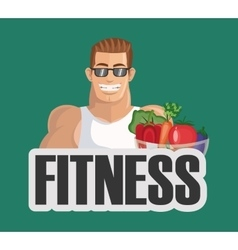 Fitness person and healthy food icons image vector