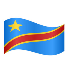 flag of dr congo waving on white background vector image