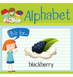 Flashcard letter B is for blackberry vector