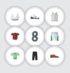 Flat clothes set of male footware casual pants vector