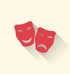 flat icons of comedy and tragedy masks for vector image