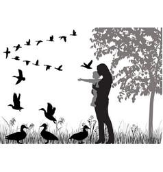 Flock of ducks vector
