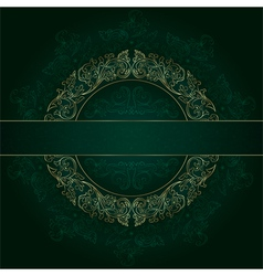 Floral gold frame with vintage patterns on green vector