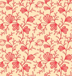 floral pattern retro red vector image