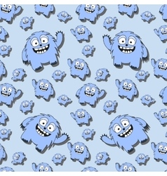 Funny seamless pattern with cartoon monsters vector