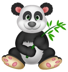 Giant Panda cartoon eating bamboo vector image