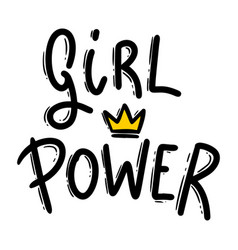 girl power lettering phrase for postcard banner vector image