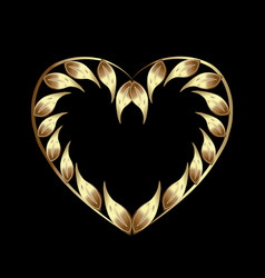 golden heart with leafs vector image