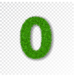 grass number zero green number 0 isolated on vector image