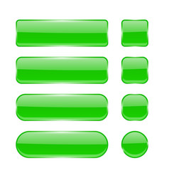 green glass buttons collection of menu interface vector image