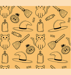 halloween seamless pattern with cat broom and hat vector image