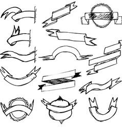 Hand Draw Ribbon Set vector