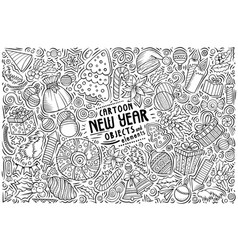 Hand drawn doodle cartoon set new year vector
