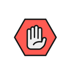 hand in hexagon do not touch no sign allowed vector image