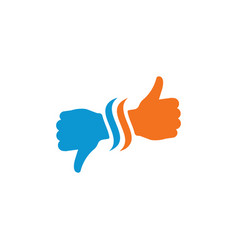 Hand thumb up and down icon flat vector