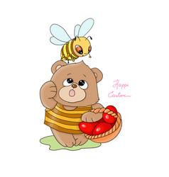 happy easterlittle bee vector image