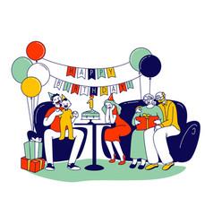 Happy family celebrating first baby birthday vector