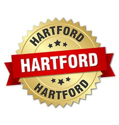 Hartford round golden badge with red ribbon vector