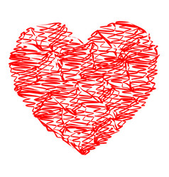 heart red color with strokes vector image