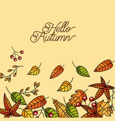 hello autumn season greeting card vector image