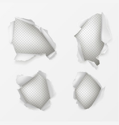 Holes in white paper sheet realistic set vector