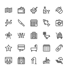 Hotel line icons 7 vector