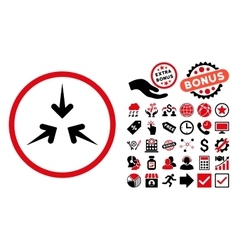 Impact Arrows Flat Icon with Bonus vector