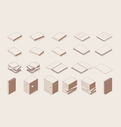 isometric outline set books stacks papers vector image