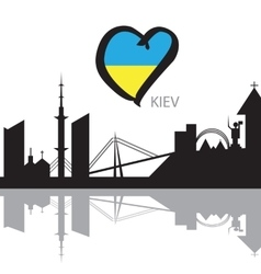 Kiev City skyline silhouette and Eurovision flag vector