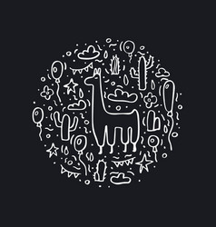 lama concept composition in doodle style vector image
