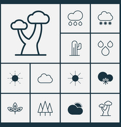 Landscape icons set collection of snowstorm sun vector