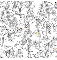 lilies and alstroemeria flowers seamless pattern vector image
