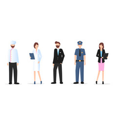 man and woman various occupation character set vector image