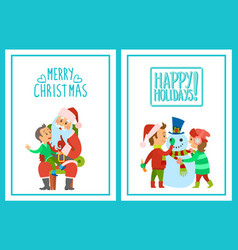 merry christmas happy holidays posters set kids vector image