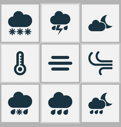 Meteorology icons set collection of wet breeze vector